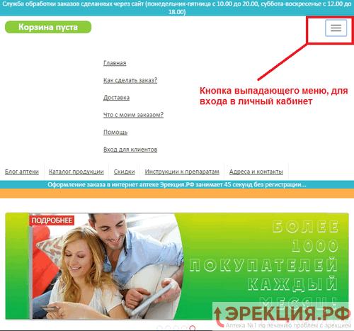 адаптивный мобильный дизайн Эрекция.РФ